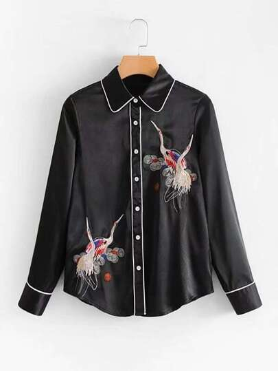 Contrast Piping Embroidery Blouse