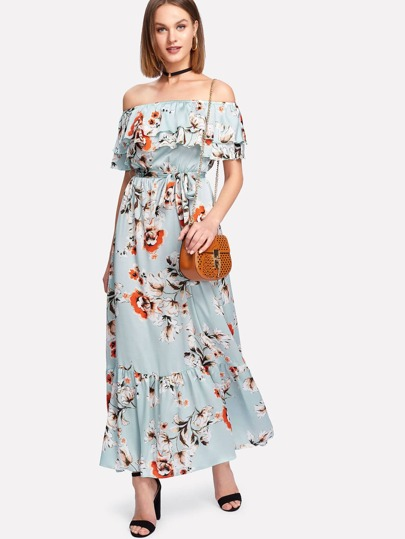 Flounce Layered Neckline Floral Dress