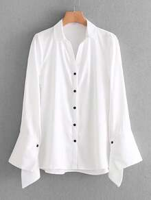Asymmetrical Cuff Button Up Blouse