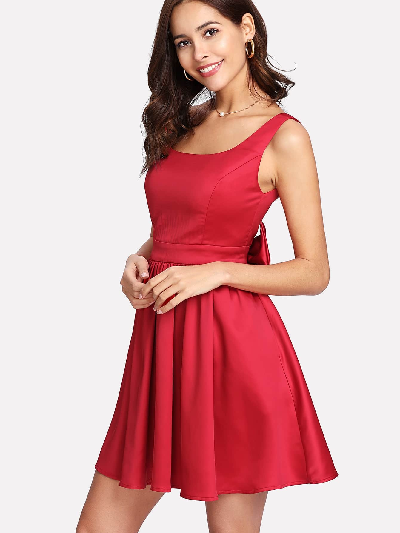 Bow Embellished Back Fit & Flare Dress zip back fit and flare splicing dress
