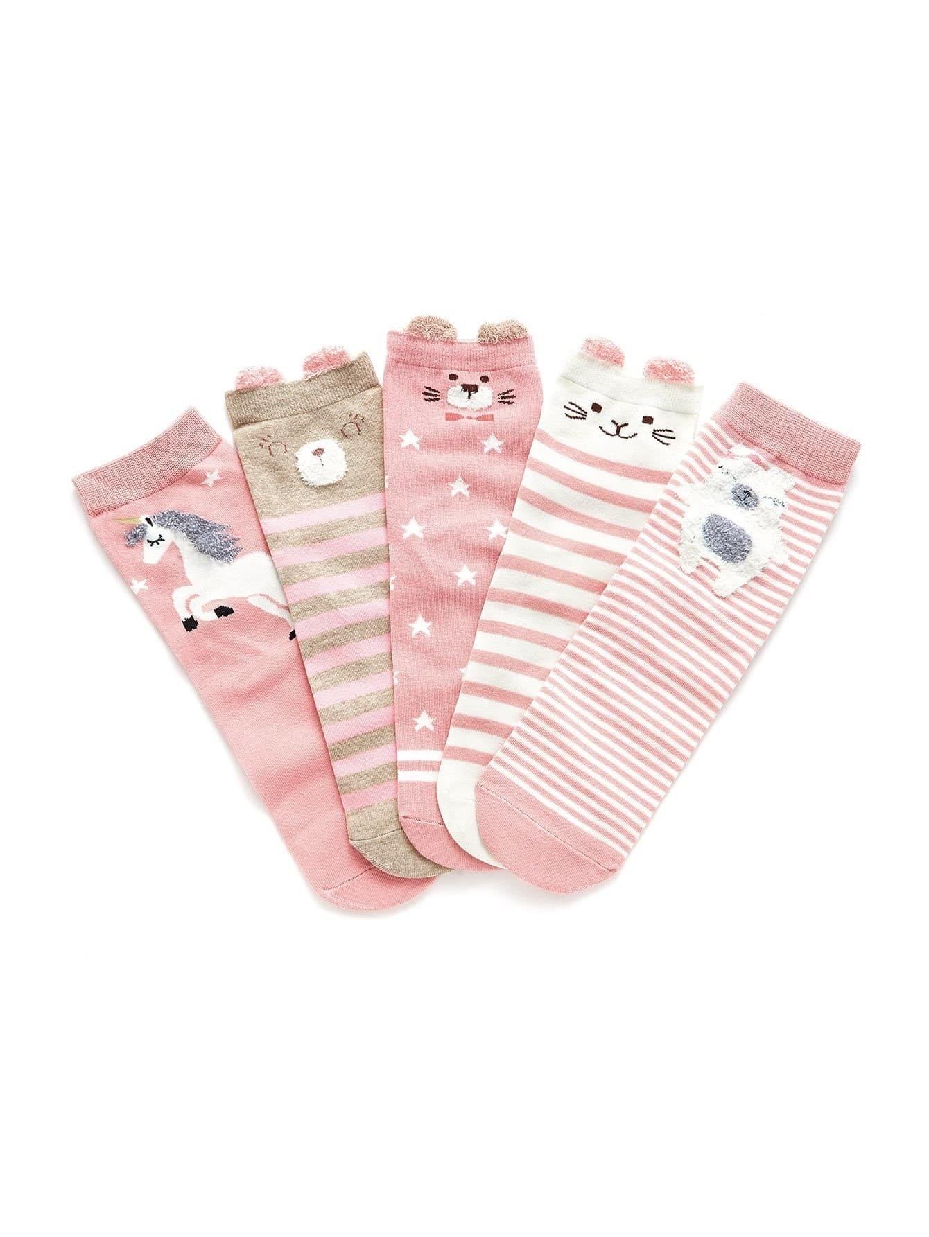 Animal Print Socks 5pairs женские чулки 1 5pairs