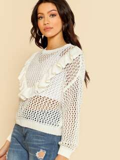V Shape Ruffle Knit Sweater CREAM