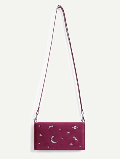 Moon & Star Pattern PU Shoulder Bag