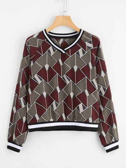 Contrast Striped Trim Geo Print Sweatshirt