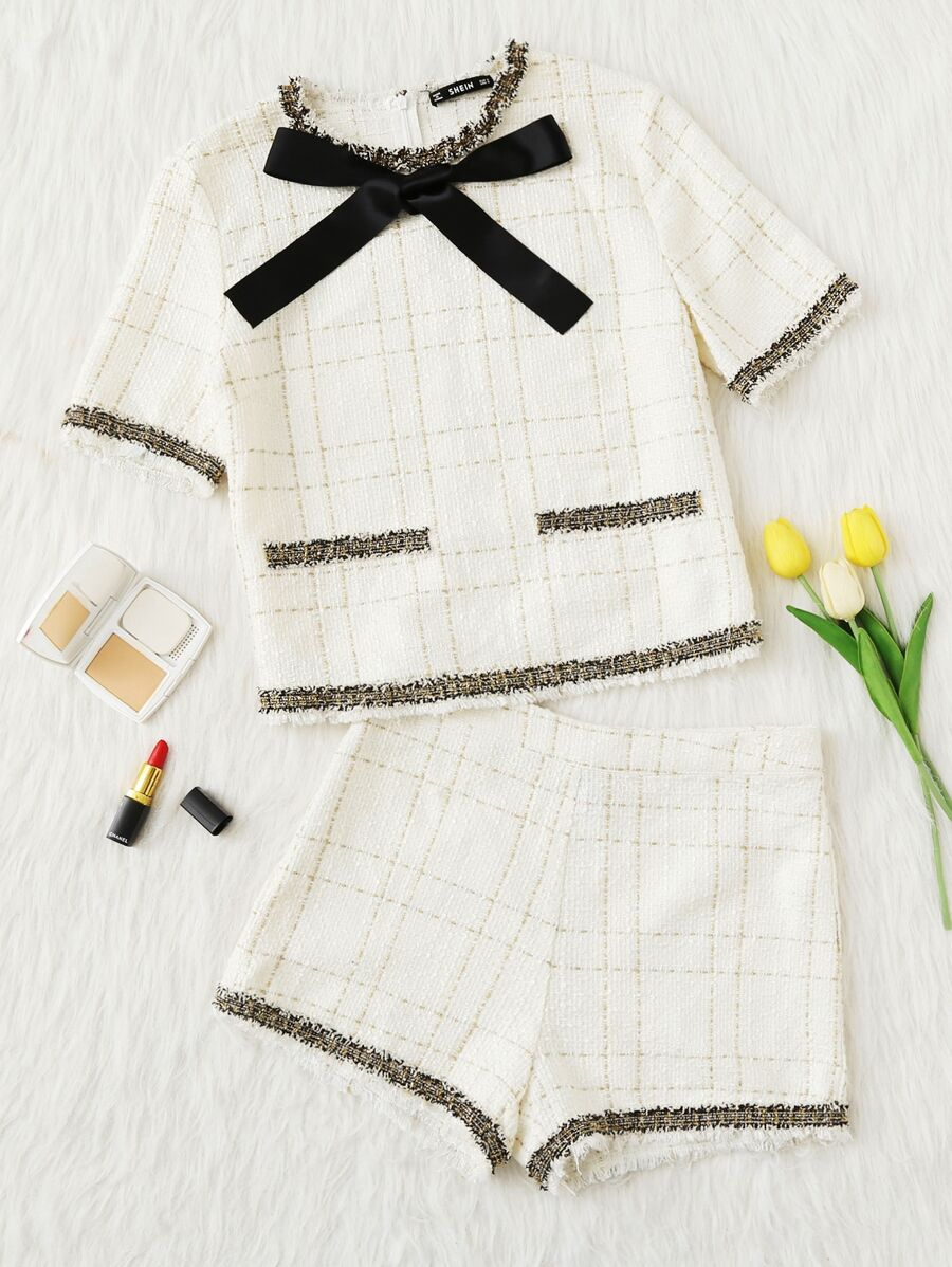 Frayed Tape Applique Tweed Top & Shorts Set by Shein