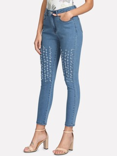 Pearl Embellished Ripped Detail Jeans