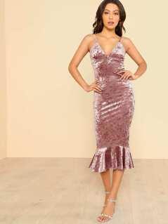 Velvet Mermaid Hem Spaghetti Dress MAUV