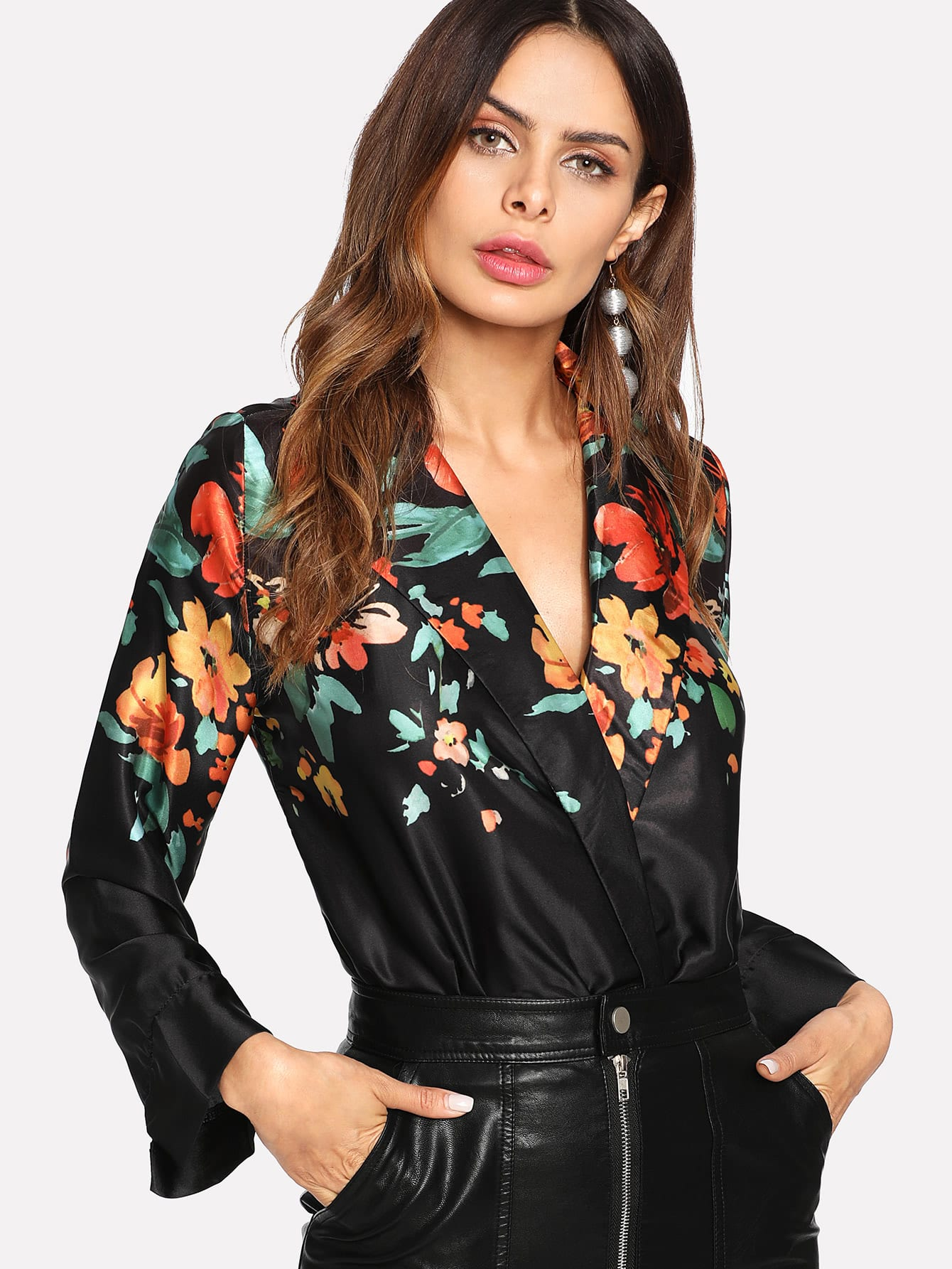 Floral Wrap Blouse Bodysuit striped wrap blouse