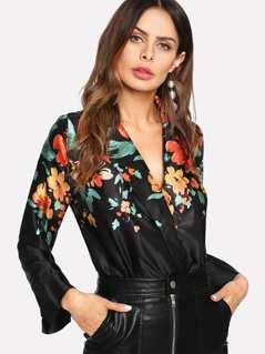 Floral Wrap Blouse Bodysuit