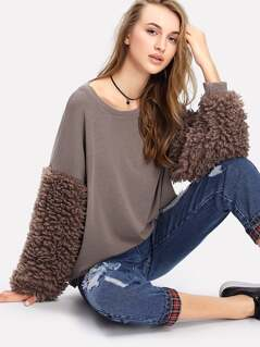 Faux Fur Sleeve Ribbed Knit Sweatshirt