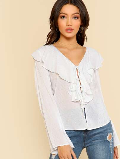Ruffle Neck Self Tie Wrap Top WHITE