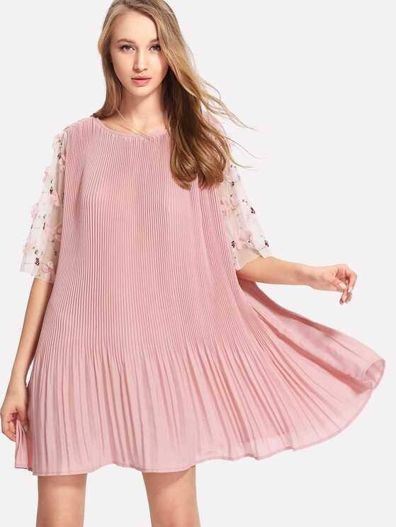 8c911ee83060 Flower Applique Mesh Sleeve Pleated Dress