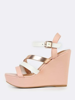 Tri Color Strappy Wedges BLUSH