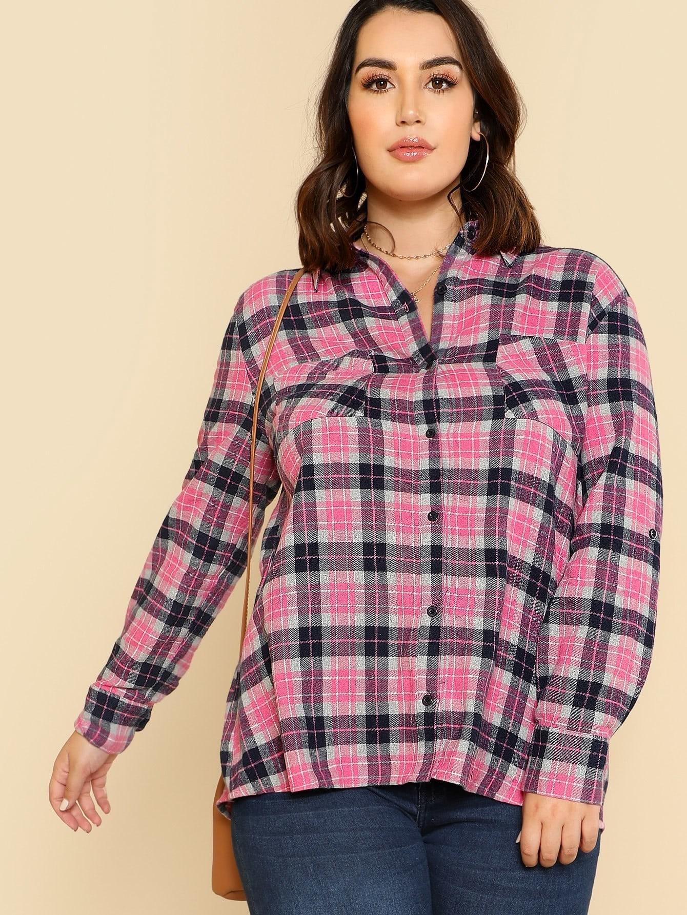 Pocket Patched Tartan Shirt pu belted tartan shirt
