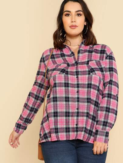Pocket Patched Tartan Shirt