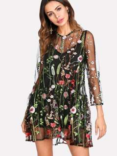 Botanical Embroidery Mesh Overlay 2 In 1 Dress