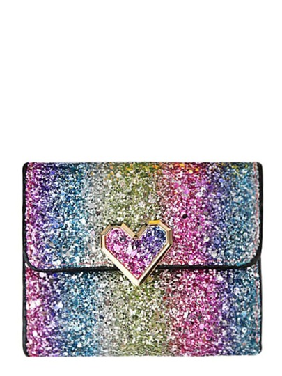 Heart Detail Glitter Clutch Bag