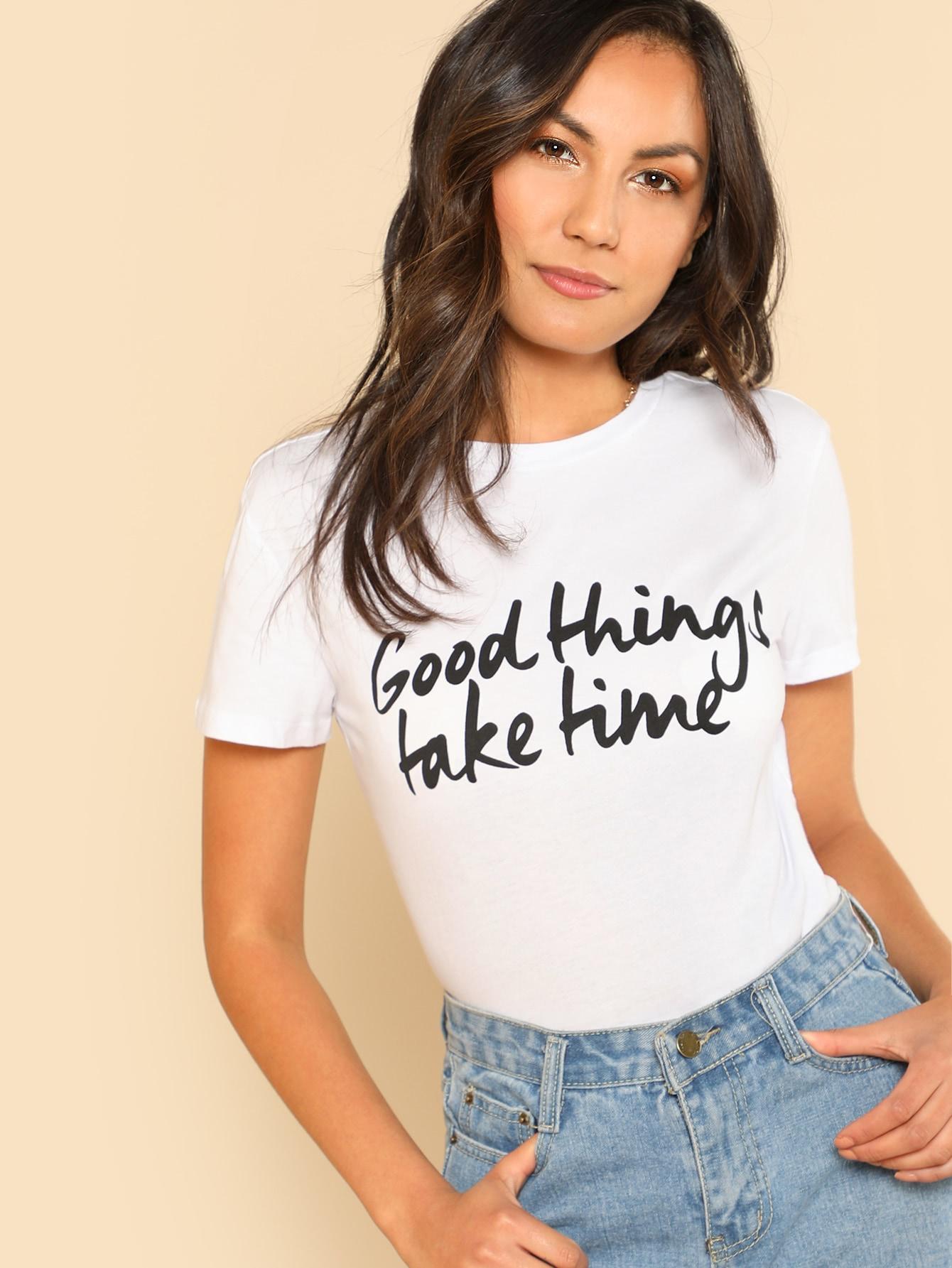 Купить Модная футболка с текстовым принтом, Kendall Marie, SheIn