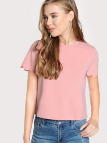 Scalloped Edge Sleeve Tee