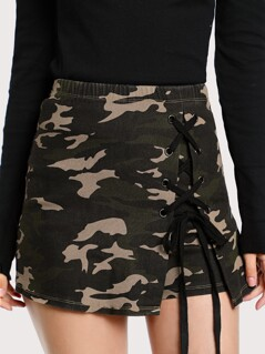 Grommet Lace Up Camo Skort