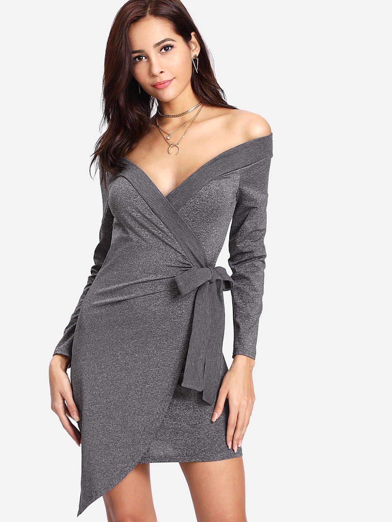 Off Shoulder Asymmetrical Hem Knot Side Dress sweetheart off shoulder asymmetrical bodycon dress