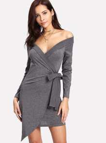 Off Shoulder Asymmetrical Hem Knot Side Dress