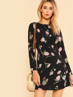 Floral Print Long Sleeve Dress BLACK MULTI