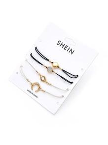 Horn & Round Charm Drawstring Bracelet Set 4pcs