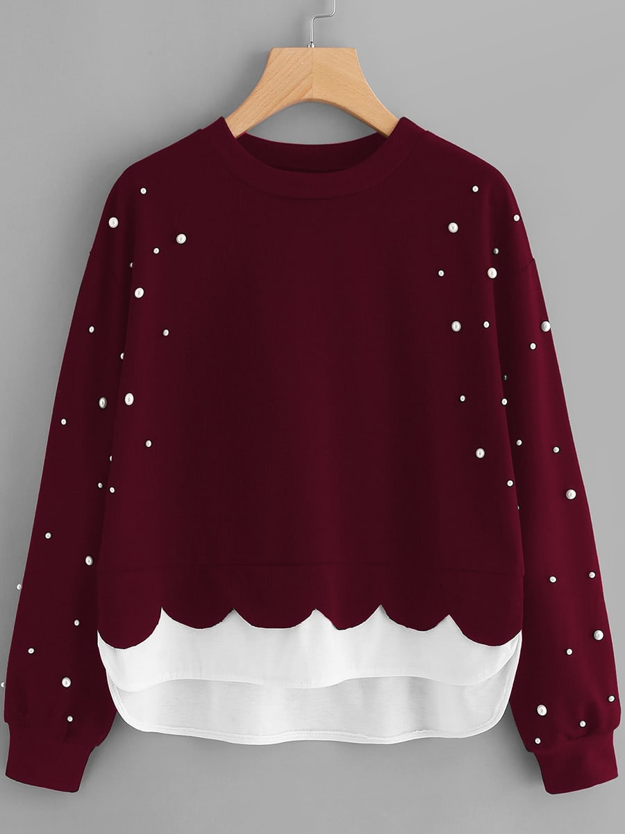Pearl Beaded Contrast Hem 2 In 1 Sweatshirt