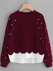 Pearl Beaded Contrast Hem 2 In 1 Sweatshirt