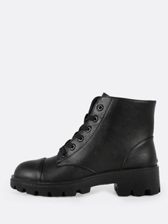 Lace Up Military Boots BLACK