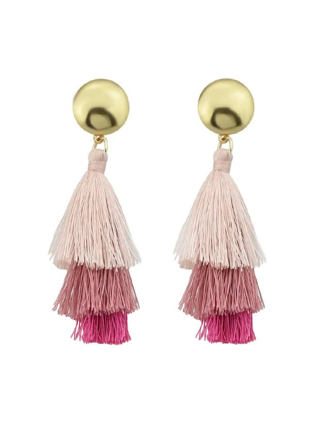 Pink Bohemian Style Ethnic Statement Tassel Drop Earrings ethnic hollow out statement drop earrings