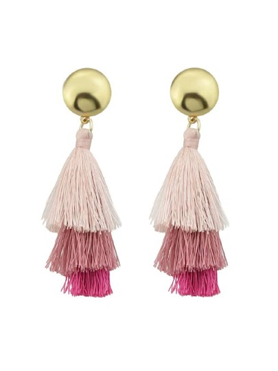 Pink Bohemian Style Ethnic Statement Tassel Drop Earrings