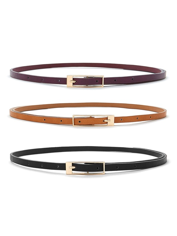 Square Buckle Skinny Belt 3pcs, null