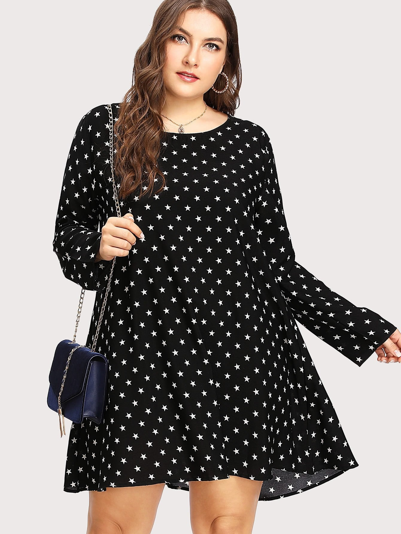 Plus Allover Star Print Dress