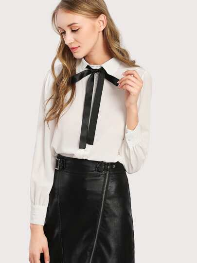 Bow Tie Neck Shirt