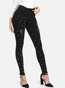Faux Pearl Decoration Ripped Jeans
