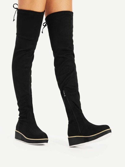 Round Toe Flat Over Knee Boots