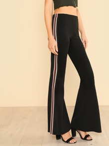 Multi Color Vertical Stripe Pants BLACK
