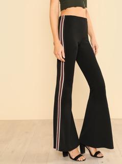 Multi Color Vertical Stripe Pants BLACK