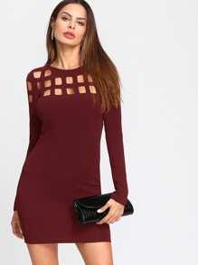 Geo Cut Yoke Form Fitting Dress