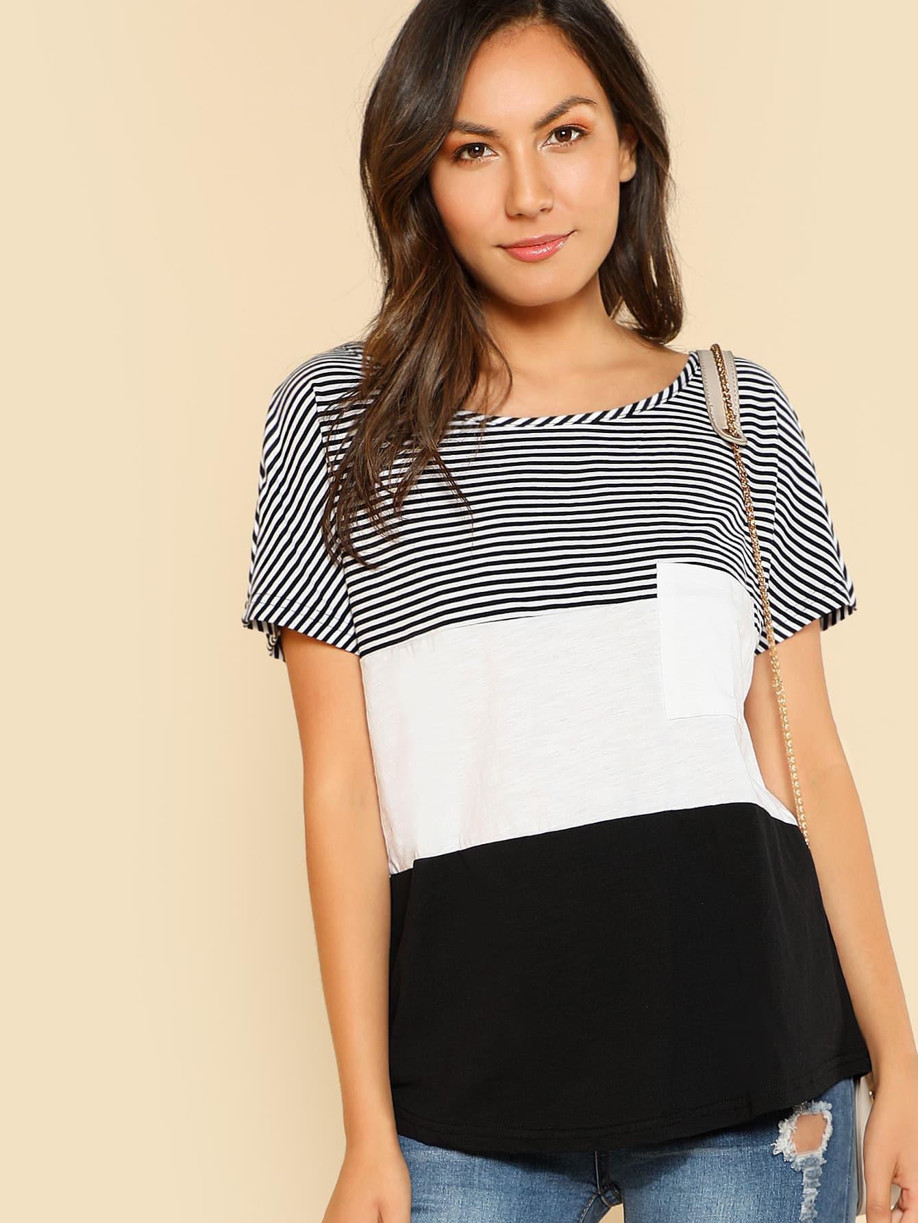 Купить Контрастная модная футболка с карманом, Kendall Marie, SheIn