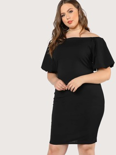 Lantern Sleeve Solid Off Shoulder Dress