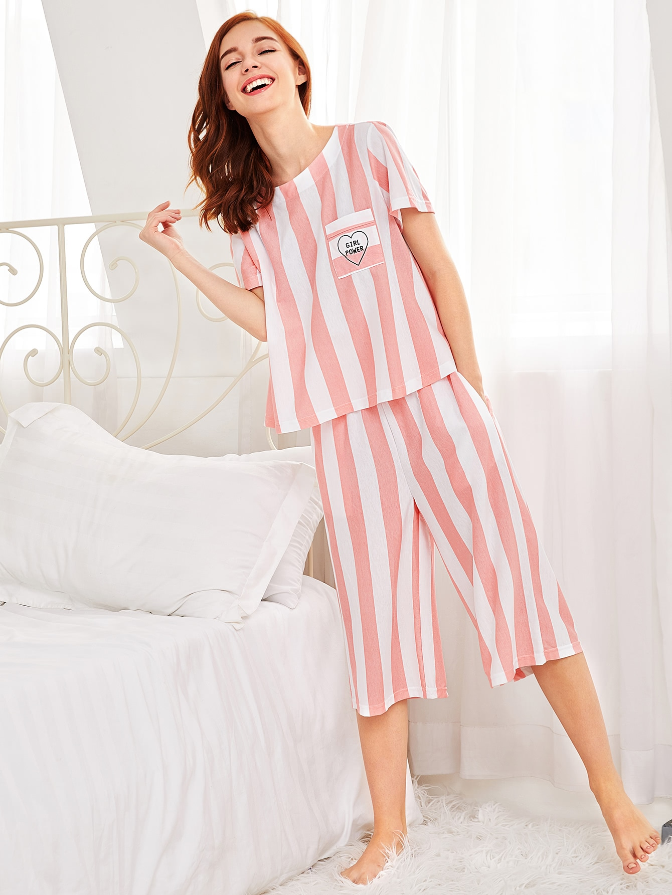 Contrast Stripe Tee & Pants Pajama Set refurbished print head for epson photo 1400 1390 pm850