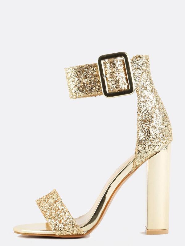 Glitter Ankle Strap Chunky Heels GOLD -SheIn(Sheinside)