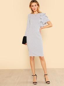 Asymmetrical Flounce Layered Sleeve Polka Dot Dress