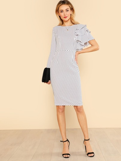 Asymmetrical Flounce Layered Sleeve Polka Dot Dress