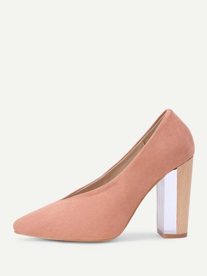 Almond Toe Block Heeled Pumps