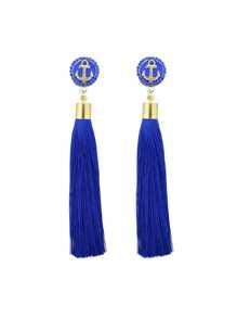 Orecchini con pendenti di nappa lunga - Blu