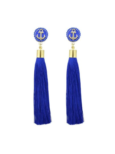 Blue Anchor Decoration With Long Tassel Drop Statement Earrings